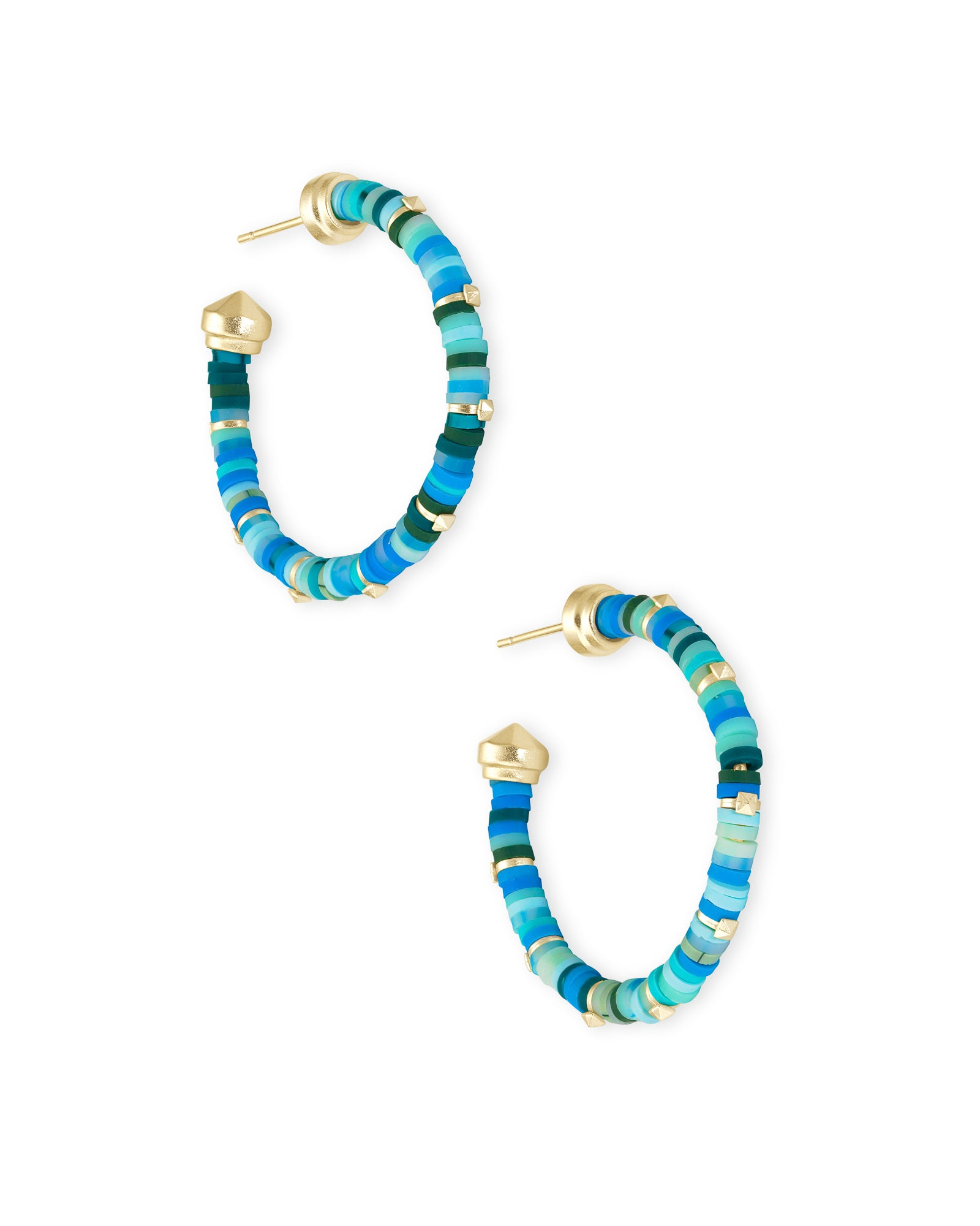 Reece Gold Small Hoop Earrings In Sea Green Mix