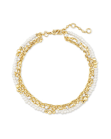 Scarlet Gold Chain Bracelet In White Pearl