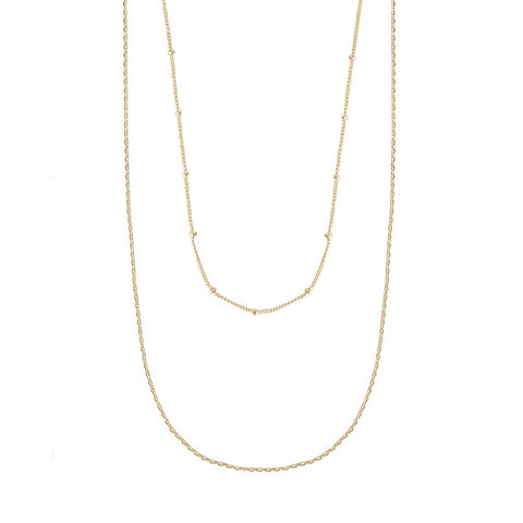 Beaded Layered Chain Gold Necklace