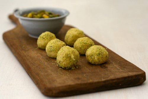 Halva & White Chocolate Truffles with Pistachio Nut Dust