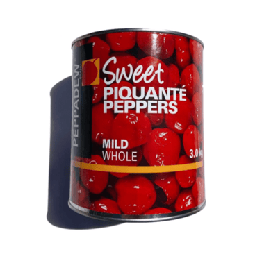 Sweet Piqante Peppers Whole 3kg Tin - Mediterranean Delicacies