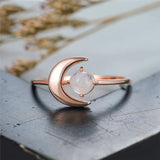 Bague Pierre de Lune Originale Or Rose