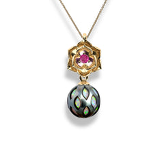 NFC Momento Pearl Pendant with Opal Core and Ruby in 14K Gold