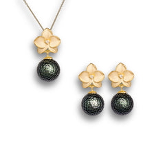 Momento Pearl NFC Earring Pendant Set in Gold