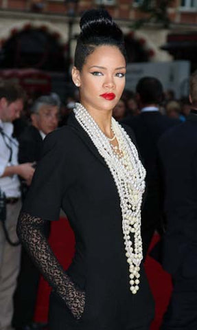 Rihanna sports a classic pearl black-and-white look