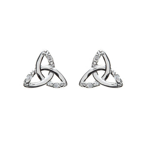 Cubic Zirconia Triquetra Stud Earrings - Celtic Dawn - Jewellery Arts Crafts & Gifts  - 1