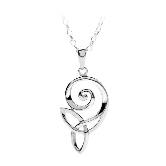 Open Spiral Triquetra Pendant - Celtic Dawn - Jewellery Arts Crafts & Gifts  - 1
