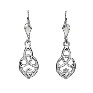 Open Triquetra Claddagh Drop Earrings - Celtic Dawn - Jewellery Arts Crafts & Gifts  - 1