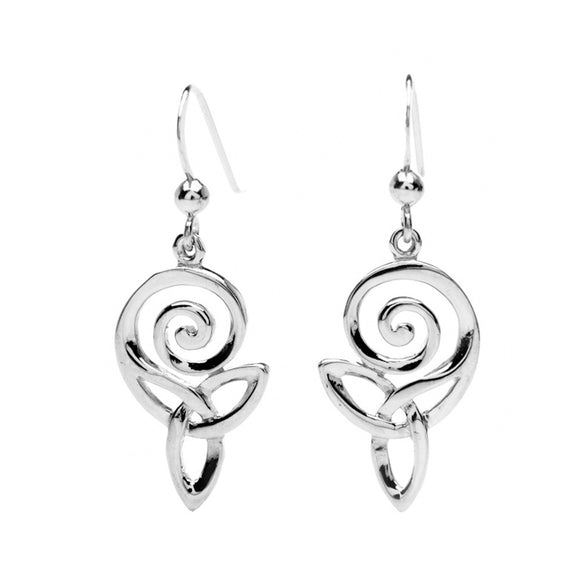 Open Spiral Triquetra Drop Earrings - Celtic Dawn - Jewellery Arts Crafts & Gifts  - 1