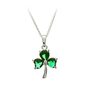 Green Crystal Shamrock Pendant - Celtic Dawn - Jewellery Arts Crafts & Gifts  - 1