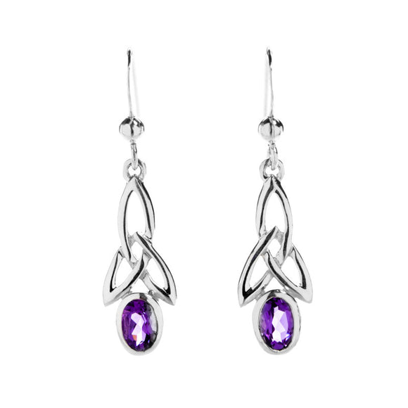 Amethyst Triquetra Knotwork Drop Earrings - Celtic Dawn - Jewellery Arts Crafts & Gifts  - 1
