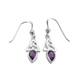 Amethyst Triquetra Gemstone Drop Earrings