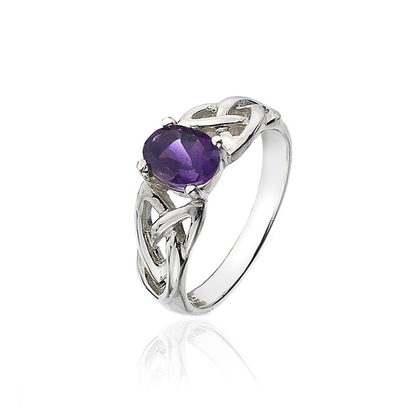 Amethyst Triquetra Knotwork Ring - Celtic Dawn - Jewellery Arts Crafts & Gifts  - 1