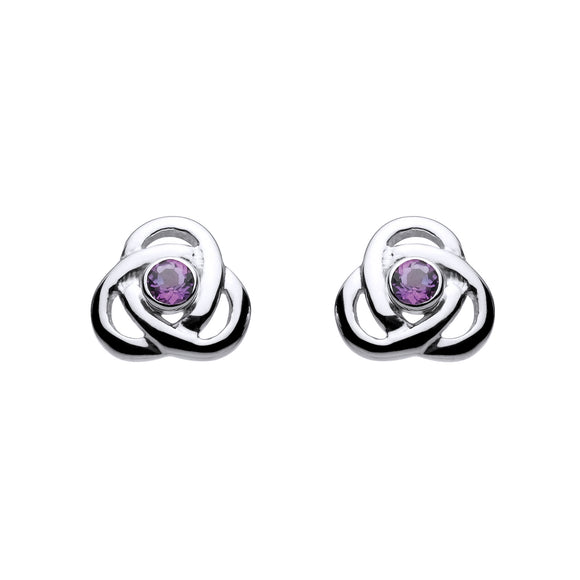 Amethyst Open Knot Gemstone Stud Earrings