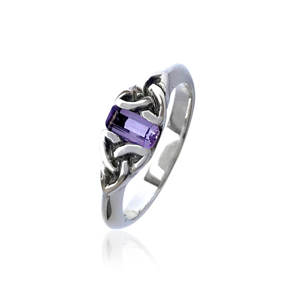 Amethyst Triquetra Gemstone Ring