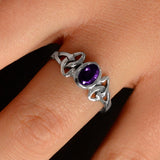 Amethyst Triquetra Knotwork Ring (Small)