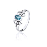 Blue Topaz Triquetra Knotwork Ring (Small)