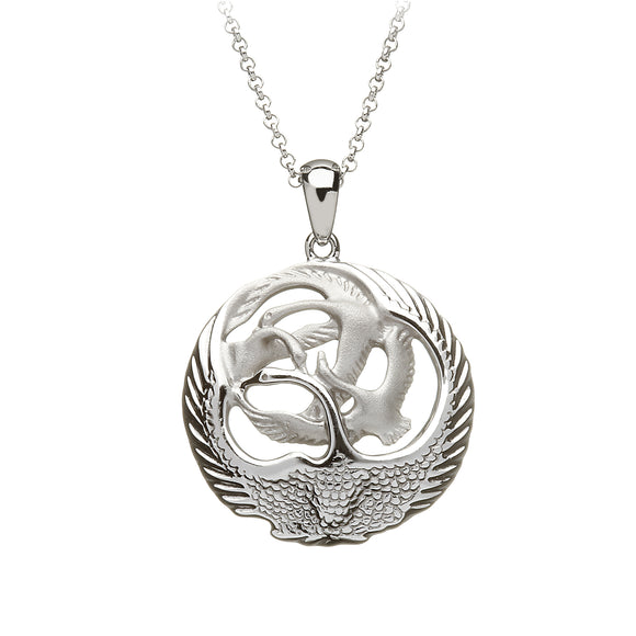 Children of the Lir 4 Swan Round Pendant