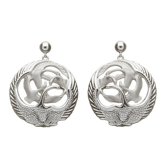 Children of the Lir 4 Swan Round Drop Earrings