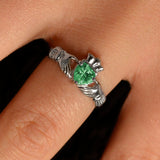 Emerald Cubic Zirconia Claddagh Ring