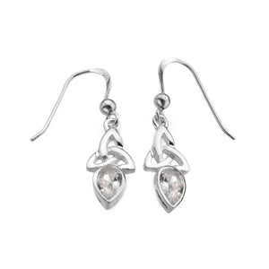 Cubic Zirconia Triquetra Gemstone Drop Earrings