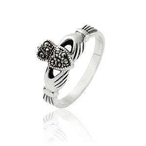 Marcasite Claddagh Ring - Celtic Dawn - Jewellery Arts Crafts & Gifts - 1