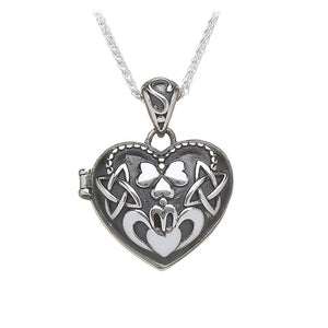 Claddagh Shamrock Knotwork Locket - Celtic Dawn - Jewellery Arts Crafts & Gifts  - 1