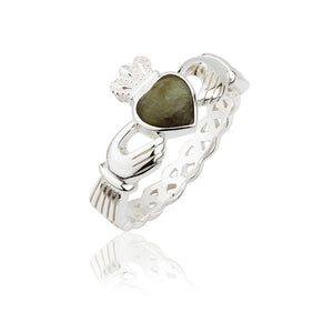 Connemara Marble Open Knot Band Claddagh Ring