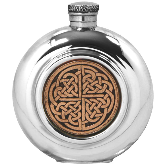 6oz Knotwork Copper Inlay Circular Hip Flask