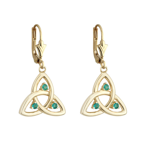 Emerald Triquetra Drop Earrings - Celtic Dawn - Jewellery Arts Crafts & Gifts  - 1