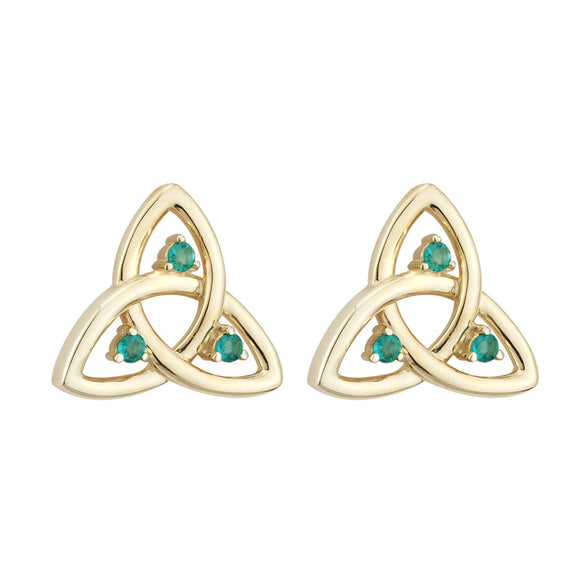 Emerald Triquetra Stud Earrings - Celtic Dawn - Jewellery Arts Crafts & Gifts  - 1