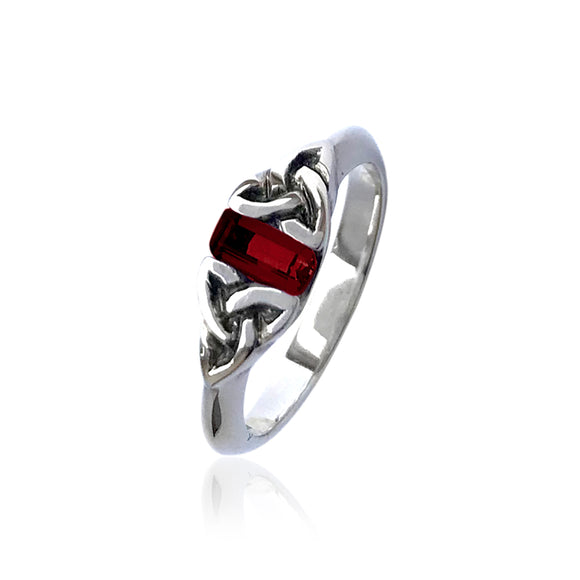 Garnet Triquetra Gemstone Ring