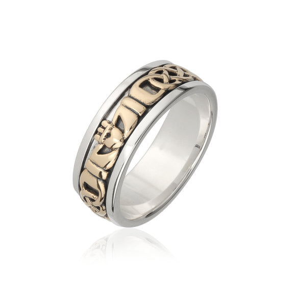 Solid Gold Inlaid Claddagh Band (Gents)
