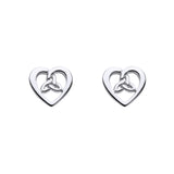 Heart Shaped Triquetra Stud Earrings