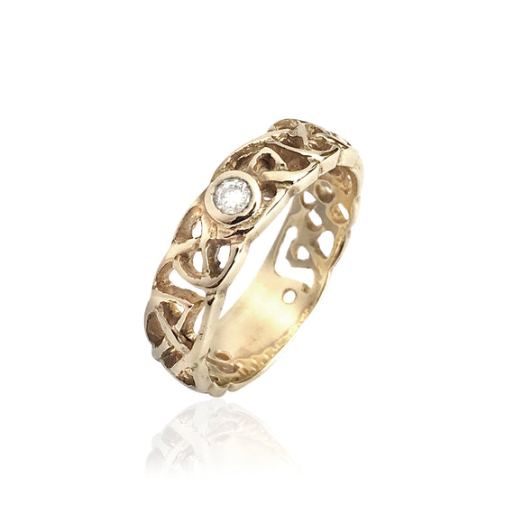 Interwoven Open Knotwork Diamond Ring