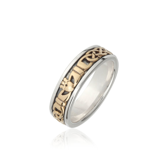 Solid Gold Inlaid Claddagh Band (Ladies)