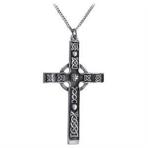 Zoomorphic Knotwork Celtic Cross Pendant (Large)
