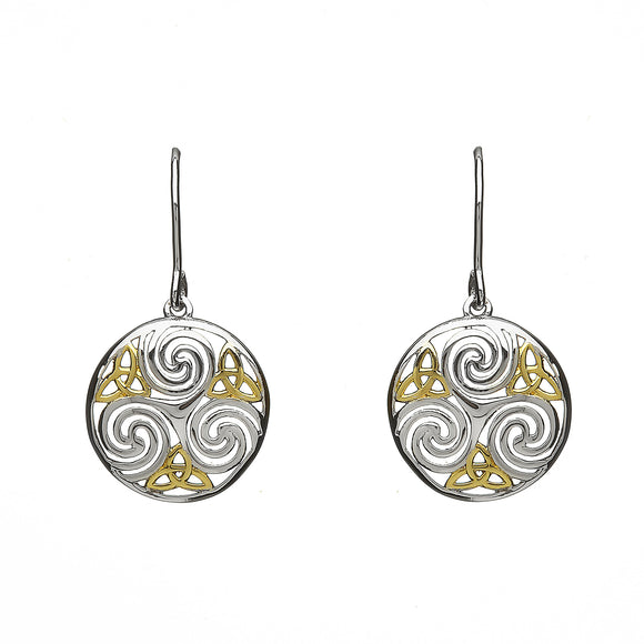 Open Triscele Triquetra Drop Earrings - Celtic Dawn - Jewellery Arts Crafts & Gifts  - 1