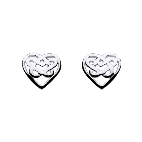 Open Love Knot Heart Shaped Stud Earrings