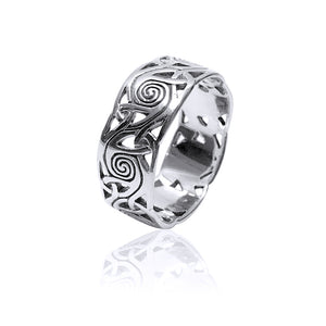 Open Spiral Triquetra Ring