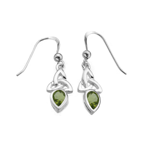 Peridot Triquetra Gemstone Drop Earrings