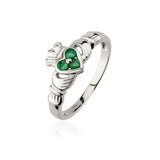 Three Stone Emerald Claddagh Ring