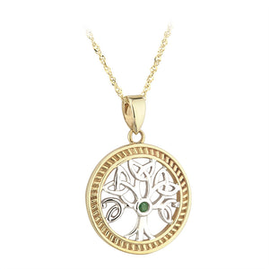 Emerald Two Tone Tree of Life Pendant - Celtic Dawn - Jewellery Arts Crafts & Gifts  - 1