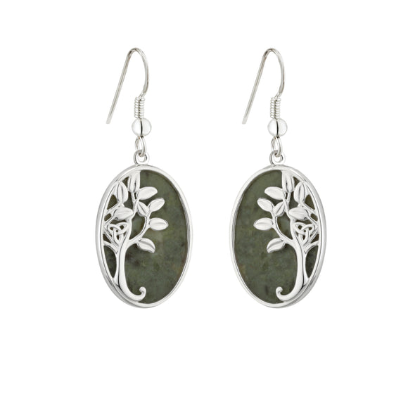 Connemara Marble Tree of Life Triquetra Drop Earrings