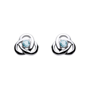 Blue Topaz Open Knot Gemstone Stud Earrings