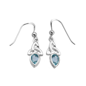 Blue Topaz Triquetra Gemstone Drop Earrings