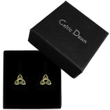 Emerald Triquetra Stud Earrings