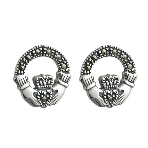 Marcasite Claddagh Stud Earrings - Celtic Dawn - Jewellery Arts Crafts & Gifts  - 1