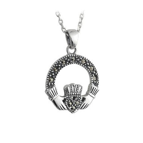 Marcasite Claddagh Pendant - Celtic Dawn - Jewellery Arts Crafts & Gifts  - 1