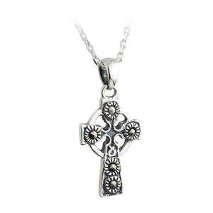 Marcasite Celtic Cross Pendant (Small) - Celtic Dawn - Jewellery Arts Crafts & Gifts  - 1